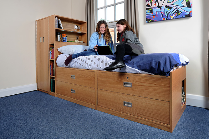 Dormitories high beds interform contract furniture Bedroom furniture for college students